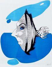 Felix Labisse Multiple Grafik Lithographie handsigniert Fisch surreal 59 x 48 cm