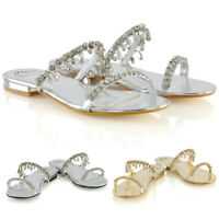 Womens Diamante Flat Strappy Slider Ladies Sparkly Slip On Sandals Size 3-8