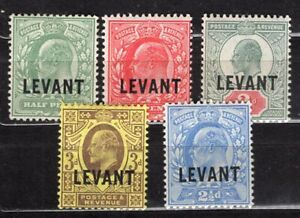 LEVANT UK POST OFFICE ABROAD 1905 IN TURKEY STAMP Sc. # 15/6 AND 18/20 MH