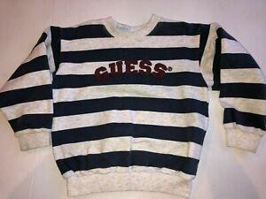 Vtg 1990s Baby Guess Sz 6 (M) Boys Navy Blue Striped Sweatshirt Grey stripes USA