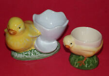2 VINTAGE CERAMIC CHICK EGG CUPS * Chicken * Breakfast * Retro *