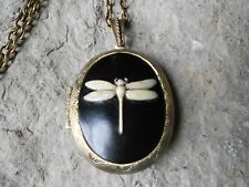 DRAGONFLY CAMEO LOCKET (hand painted) -ANTIQUE BRONZE, VINTAGE LOOK!!