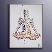 "Painting 40"" Chakra Meditation, Yoga Relaxing painting, lotus, Original handmade"