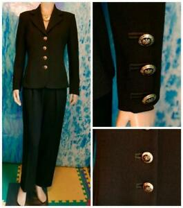 St. John Knits Basics Black Suit Jacket S 4 6 Blazer Logo Crest Buttons Classic
