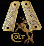 CUSTOM COLT 1911 38 - 45 FULL SIZE GRIPS AMBI COLT RAMPANT GOLD Plated