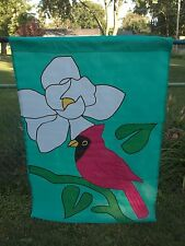 """Vintage New Cardinal With A Flower 40""""T X 28""""W Large Garden Decorative Flag"""