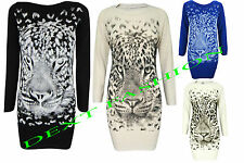 WOMEN'S LEOPARD TIGER PRINT KNITTED TOP BODYCON TUNIC DRESS KAFTAN JUMPER