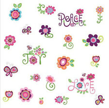 LOVE JOY PEACE wall stickers 35 big decals flowers groovy funky girls room decor