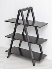 Black A Frame Shelf Ladder Bookshelf Room Divider 3 Tier Shelving Unit