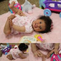 Reborn baby girl w/ torso,   Custom order  AA ethnic biracial Crawler position