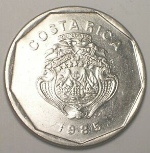1985 Costa Rica Rican 20 Colones Ship in Arms Coin XF