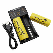 Batería 2PCS 26650 12800mAh Li-ion recargable de drenaje bajo + Cargador Usb-Lámpara UK