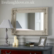 70cm x 100cm Large Wooden Mirror W/ Carved Detail - Light Grey
