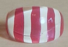 VINTAGE LUCITE PINK WHITE STRIPED CHUNKY RING SZ 9