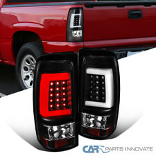 For 03-07 Chevy Silverado 04-07 GMC Sierra LED Black Tail Lights Brake Lamps