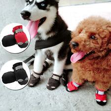 4pcs Dog Shoes Waterproof Snow Rain Winter Fleece No Slip Boots Reflective Black