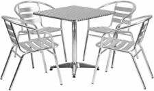 27.5'' Square Aluminum Indoor-Outdoor Table Set with 4 Slat Back Chairs New