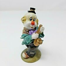 Vintage Clown Figurine 8'' Tall Playing Musical Instrument Saxophone Red Nose