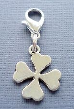 Four Leaf Clover shamrock Dangle lucky Clip On Charm Fits Link ChainC174