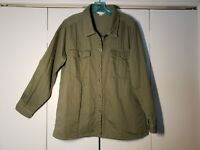 Garnet Hill Military Style Jacket Olive Green Button Up Collar Size 12 EUC