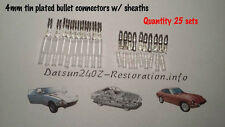 Bullet connectors 4mm-Tin plated w/ vinyl sheaths Datsun 240z 260z 280z -25 sets