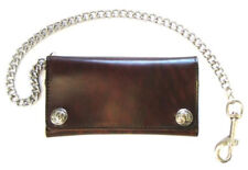 Biker Men's Buffalo Nickel Snap Antique Genuine Leather Chain Wallet, Made in US
