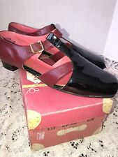 Minni Maroon Black Patent Buckle Vintage Ladies Shoes Nos Nib 8.5 M 60s