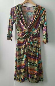 Onjenu V-Neck 3/4 Sleeved Patterned Dress Size 42 UK 10 Fun Casual Evening