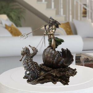 Greek God of The Sea Statue Resin Neptune Poseidon on Seahorse Figurine
