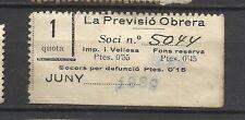 8368-SELLO ESPAÑA CUOTA LA PREVISION OBRERA EN CATALAN Y CASTELLANo 1939