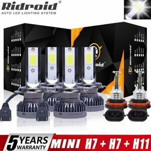 Combo LED Headlight H7+H7+H11 High Low Beam+Fog Light 6x Bulbs Kit 6000K White