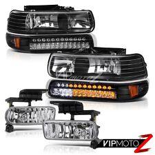99-02 Silverado 00-06 Suburban Tahoe Black LED Signal Bumper+Headlight+Fog Light