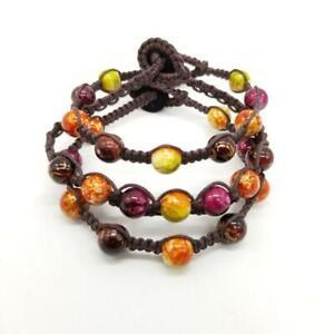 Set of 3 Hand Crafted Handmade Hippie Beaded Bracelets, Boho, Hemp Cord