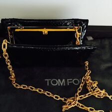 TOM FORD Stunning Black Snakeskin Clutch Bag with Gold Chain