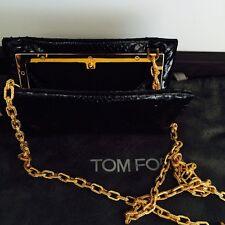 TOM FORD impresionante negro piel de serpiente clutch bag con Cadena de oro