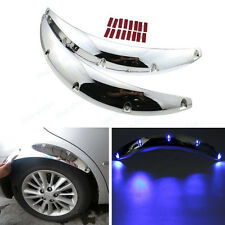 2Pcs Car Fender Flares Arch Wheel Eyebrow Protector Sticker with Blue LED Light
