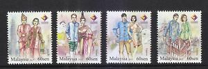 MALAYSIA 2015 4 NATIONS STAMP EXHIBITION (TRADITIONAL ATTIRE) COMP. SET 4 STAMPS