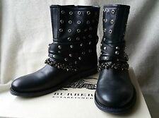 New Burberry 38 8 Jude Studded Grommet Chain Moto Boots Booties Plaid Black Shoe