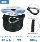 38 Inch 50ft Premium Solid Braid Mfp Dock Anchor Ropeline With Thimble Black