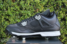 AIR JORDAN IV RETRO 4 SZ 8.5 BLACK TECH GREY CLEATS 807710 010