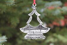 Hastings Pewter Company Lead Free Pewter Mackinac Bridge Christmas Tree Ornament