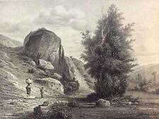 Manière noire Roanne près de Saint Alban Lithographie Louis Noirot milieux XIXè