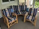 3 Pc. Set Vintage Mid-Century Rattan Furniture w/ Floral Upholstered Cushions