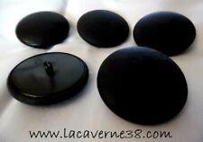 Lot 5 boutons à pied noir 45mm ancien en cuir ou simili couture manteau veste