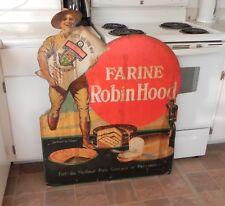 RARE VINTAGE 1930'S ROBIN HOOD FLOUR DIE CUT CARDBOARD EASEL ADVERTISING SIGN