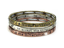 Serenity Prayer Tri-Tone Set Of 3 AA AL-ANON Recovery Inspirational  Bracelet