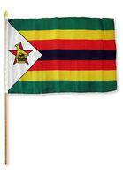 "12x18 12""x18"" Wholesale Lot of 12 (Dozen) Zimbabwe Stick Flag wood Staff"