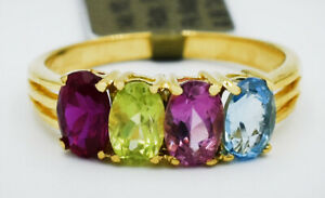 RUBY, PERIDOT, PINK SAPPHIRE & BLUE TOPAZ RING 14K GOLD * New With Tag *