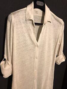 Majestic Filatures Beige 100% Soft Linen Jersey Tab Sleeve Shirt 3