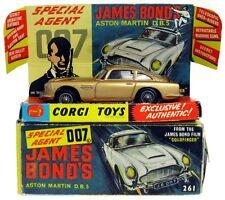 Vintage 1965 Corgi 261 James Bond 007 Goldfinger Aston Martin DB5 w/Box & Insert